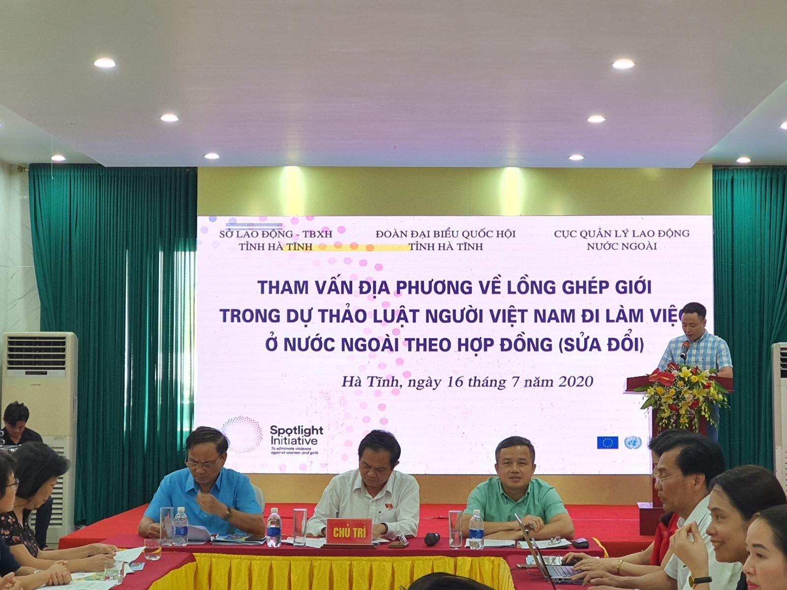 Hội nghị tại Hà Tĩnh: Tham vấn địa phương về lồng ghép giới trong dự thảo Luật Người lao động đi làm việc ở nước ngoài theo hợp đồng (sửa đổi)
